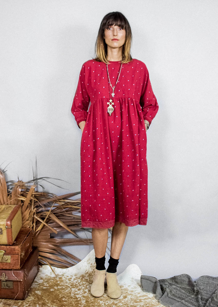 Kopal Women's Dress - Kuku Dress - Red Khadi