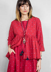 Kopal Women's Top - Anga Top - Red Khadi