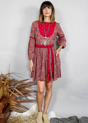 Kopal Women's Dress - Mandy Dress - Moroccan Red Tile Print