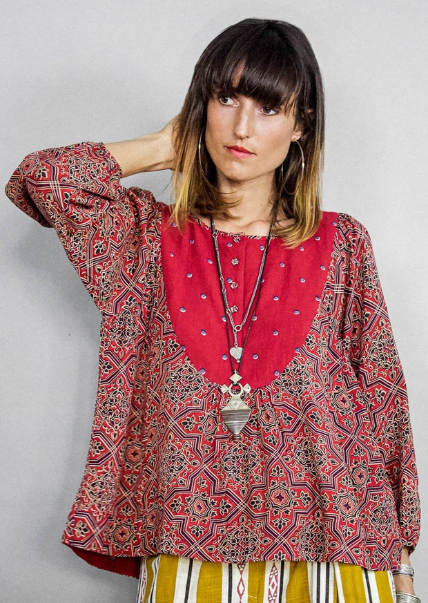 Kopal Women's Top - Mani Top - Moroccan Red Tile Print