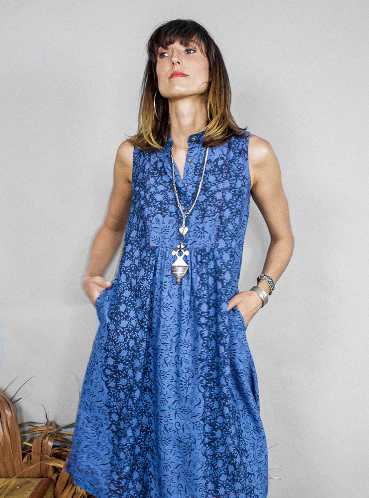 Rina Dress – Floral Net Print Indigo