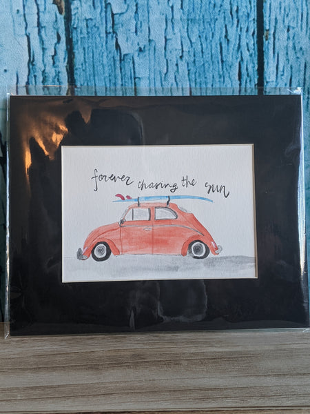 """VW Beetle"" 8 x 10 ""Forever Chasing the Sun"" Hand-Painted"