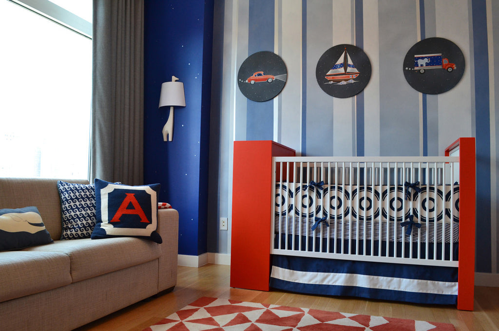 Modern Blue and Orange Nursery: Upper East Side, NYC