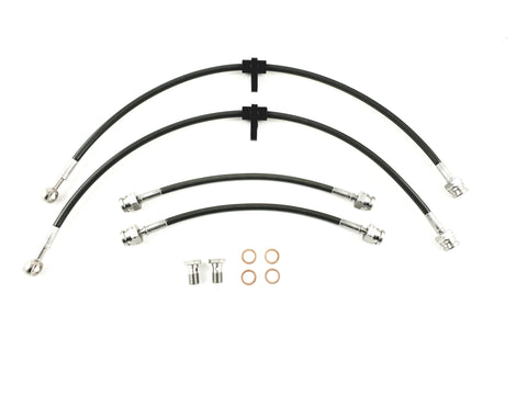 Audi A3 Quattro 3.2 345mm Front Discs (2003-) Stainless Steel Braided Brake Line Kit