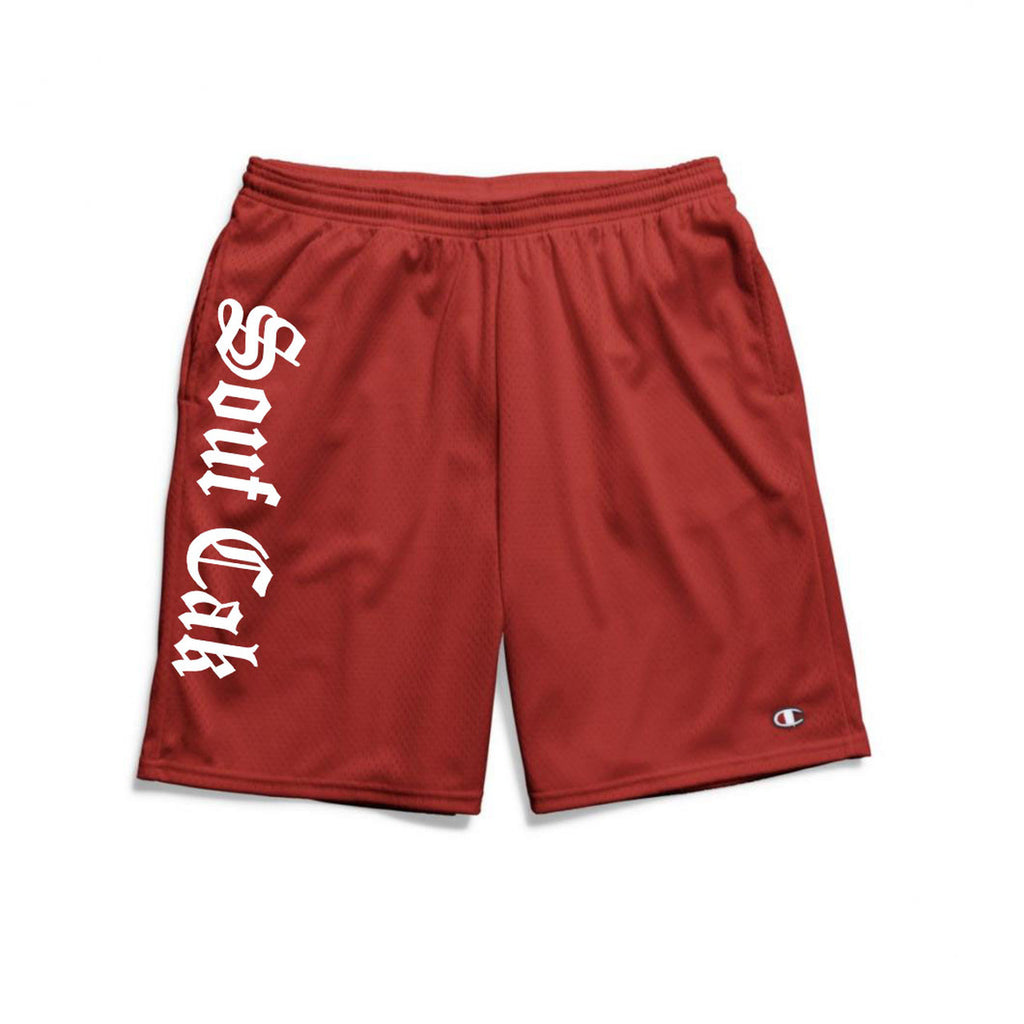 The Souf Cak Vertical  Champion Gym Shorts With Pockets- Red