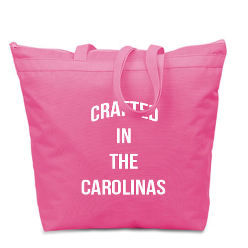 Crafted in the Carolinas Tote Bags- Pink