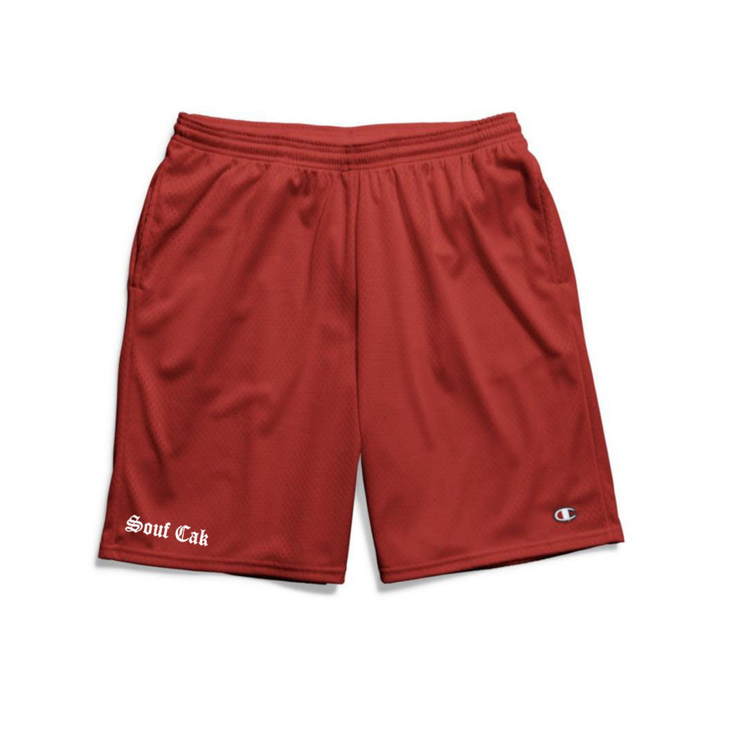 Souf Cak  Champion Gym Shorts With Pockets- Crimson