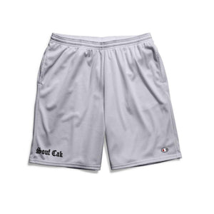 Souf Cak  Champion Gym Shorts With Pockets- Grey/Sliver