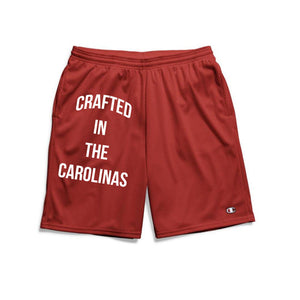 Crafted in the Carolinas Champion Gym Shorts With Pockets- Red