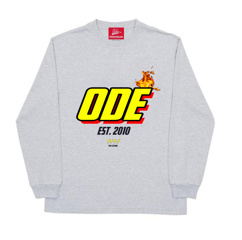 The Ode Flame Long Sleeve Shirt- Grey