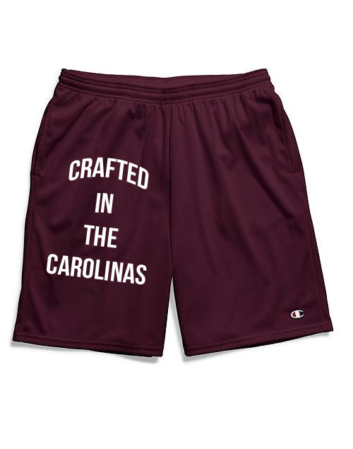 Crafted in the Carolinas Champion Gym Shorts With Pockets- Maroon