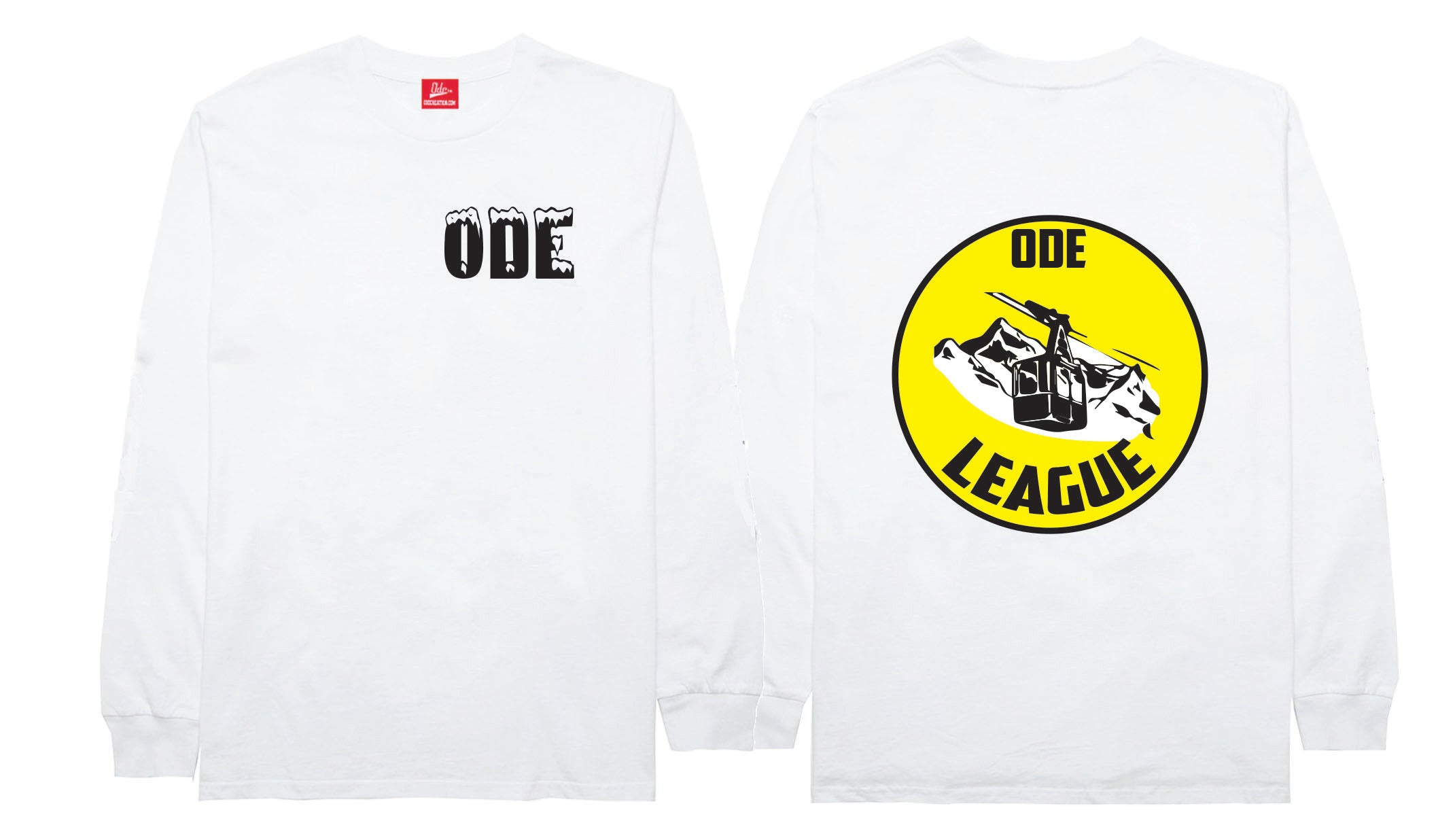 The Ode Ski Lift Signs Long Sleeve- White