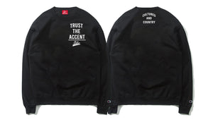 Trust The Accent x Cultured And Country Champion Crewneck- Black