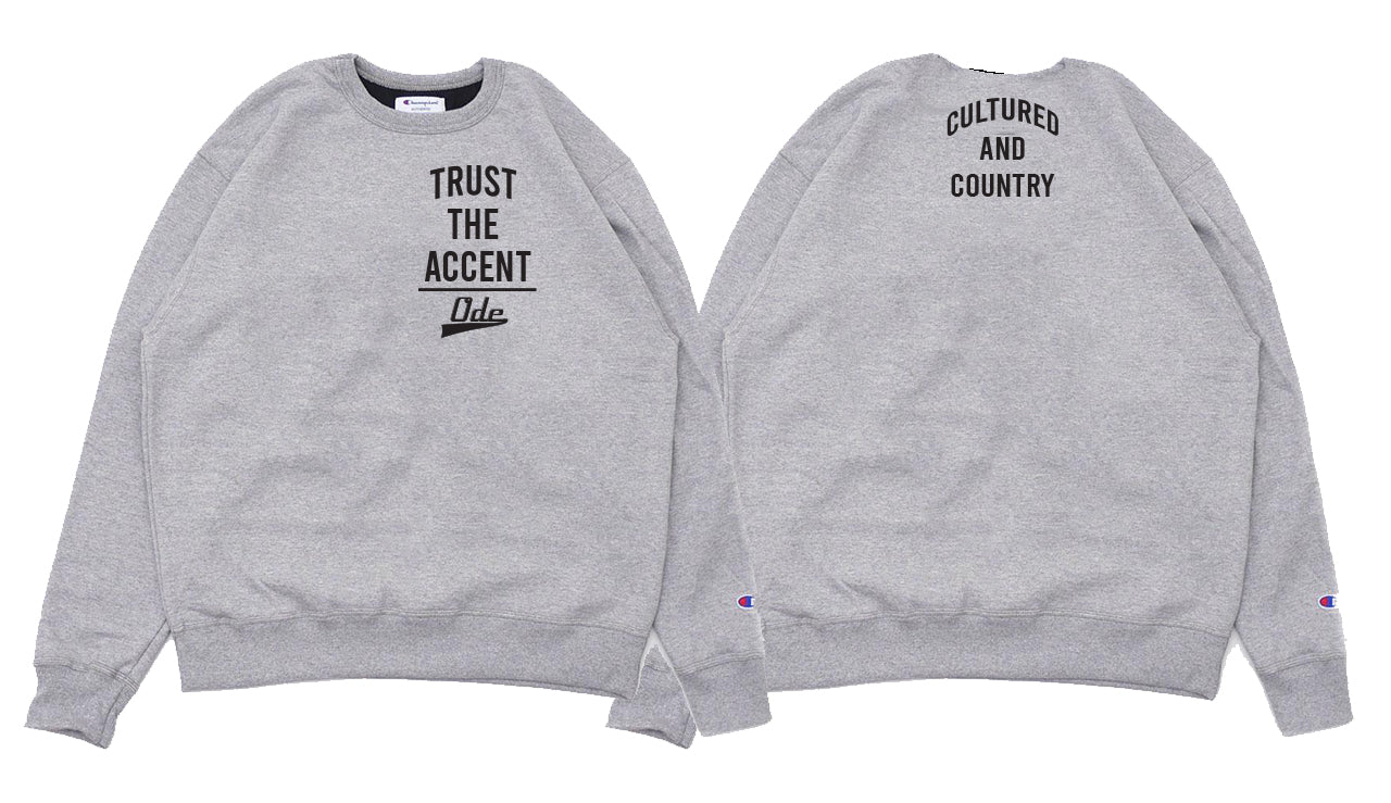 Trust The Accent x Cultured And Country Champion Crewneck- Grey