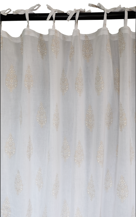 Hand block printed curtain - White with gold print - cotton - 47