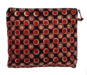 Hand Block Printed Toiletries Bag - Tsang Spot - Anokhi