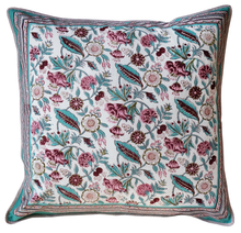 "Load image into Gallery viewer, Cotton Cushion Cover - Floriana - Square 24"" x 24"" - Inkandblock"