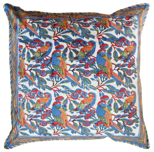 "Cotton Cushion Cover - Parrots Tropical - Square 24"" x 24"" - Inkandblock"