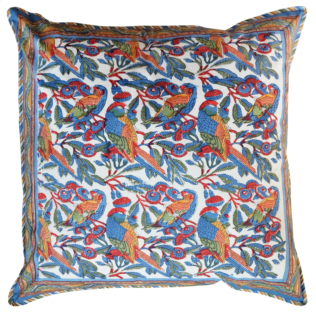 Cotton Cushion Cover - Parrots Tropical - Square 24