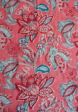 Load image into Gallery viewer, Cap sleeved Nightdress - Bali Flower Coral - 100% Cotton - Anokhi
