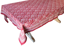 "Load image into Gallery viewer, Hand Block Printed Tablecloth  - Dahlia Crimson - 108"" x 70"" - Anokhi"