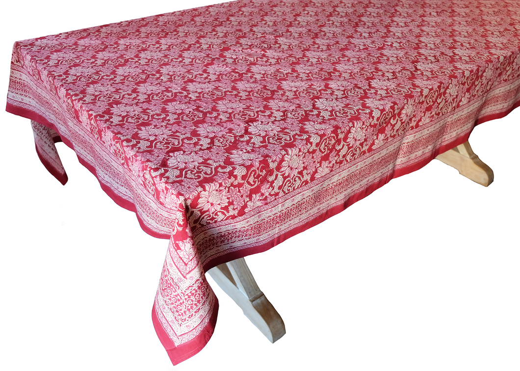 Hand Block Printed Tablecloth  - Dahlia Crimson - 108