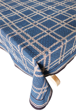 "Load image into Gallery viewer, Hand Block Printed Tablecloth - Madras Indigo - 70"" x 108"""