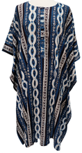 Load image into Gallery viewer, Midi Kaftan - Lace Stripe Indigo - free size - Anokhi