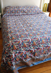 Queen Cotton Bedcover - Parrots Tropical - Hand Block Printed - Anokhi