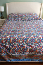 Load image into Gallery viewer, Queen Cotton Bedcover - Parrots Tropical - Hand Block Printed - Anokhi