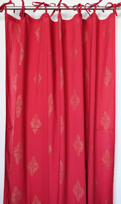 Hand block printed curtain - Red with gold print - cotton - 47