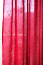 "Load image into Gallery viewer, Hand block printed curtain - Red with gold print - cotton - 47""w x 92"" l - Anokhi"