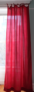 "Hand block printed curtain - Red with gold print - cotton - 47""w x 92"" l - Anokhi"