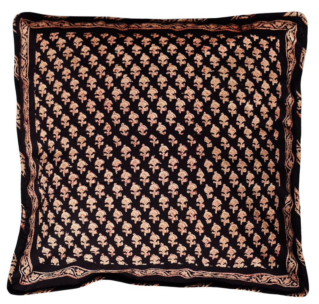 Cotton Cushion Cover - Dhania Black - Square 18