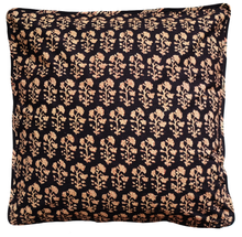"Load image into Gallery viewer, Cotton Cushion Cover - Dhania Black - Square 18"" x 18"""