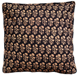 "Cotton Cushion Cover - Dhania Black - Square 18"" x 18"""