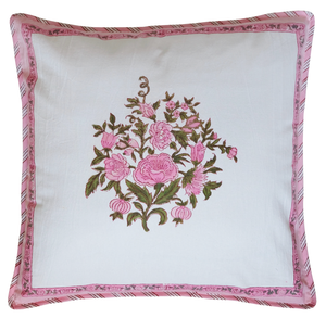 "Cotton Cushion Cover - Bouquet Pink - Square 18"" x 18"" - Anokhi"