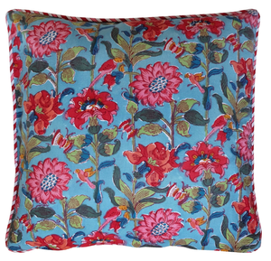 "Cotton Cushion Cover - Fresco Emerald - Square 18"" x 18"""