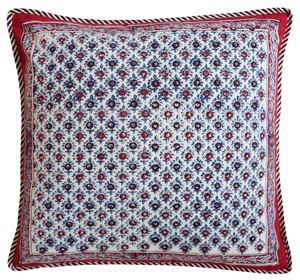 "Cotton Cushion Cover - Palm Booti - Square 18"" x 18"" - Anokhi"