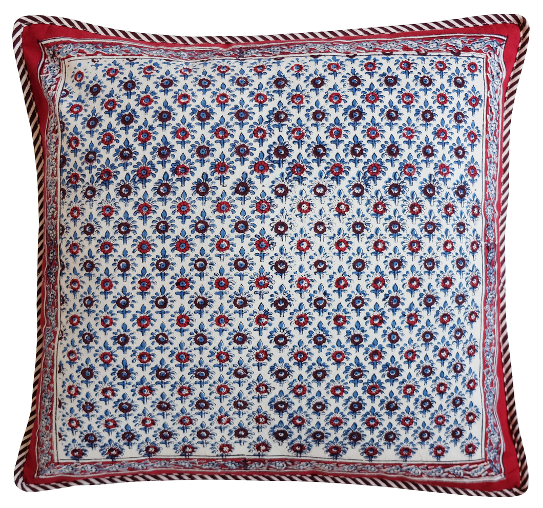 Cotton Cushion Cover - Palm Booti - Square 18