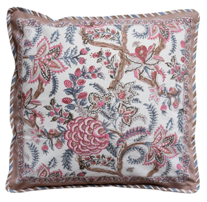 "Cotton Cushion Cover - Tree of Life Blush - Square 18"" x 18"""
