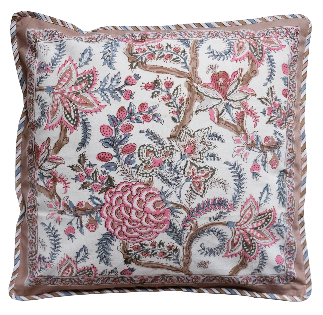 Cotton Cushion Cover - Tree of Life Blush - Square 18