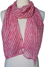 "Load image into Gallery viewer, Hand Block Printed Anokhi Scarf - Dash Red - 12"" x 72"" - cotton/silk"