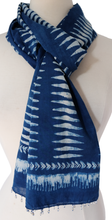 Load image into Gallery viewer, Hand Block Printed Scarf - Lantern Indigo - 100% cotton - Anokhi