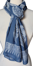 "Load image into Gallery viewer, Hand Block Printed Anokhi Scarf - Brella Butah - 14"" x 72"" - 100% cotton"