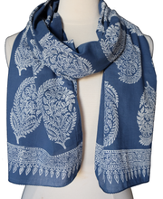 "Load image into Gallery viewer, Hand Block Printed Anokhi Scarf - Brella Butah - 14"" x 72"" - 100% cotton - Anokhi"
