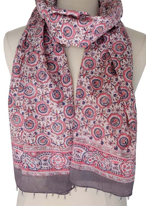 Hand Block Printed Scarf - Quintana - 100% cotton - Anokhi