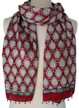 Load image into Gallery viewer, Hand Block Printed Scarf - Sketch Paisley - 100% cotton - Anokhi