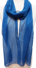 "Load image into Gallery viewer, Hand Block Printed Scarf - Deep Water - 12"" x 86"" - cotton/silk - Anokhi"
