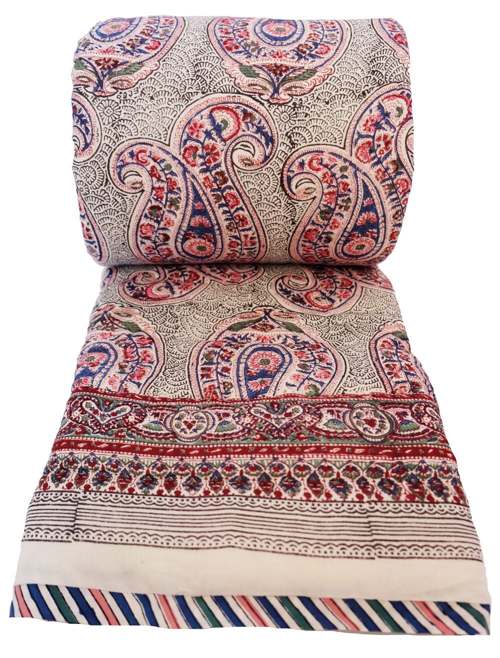 Russin Paisley Ink - Twin 70 x 108 - 100% cotton, reversible quilt. - Anokhi